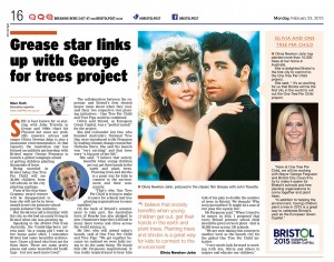 The launch of 'One Tree Per Child' received very positive   coverage in the Bristol Post.