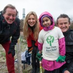 Mayor George Ferguson, Naomi Wilkinson from CBBC and Jon Dee with a child at the first 'One Tree Per Child' planting in Bristol.