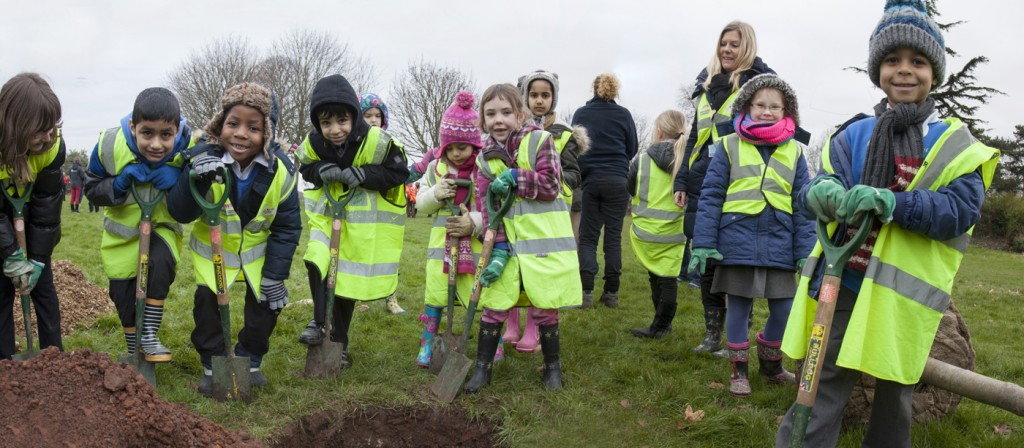 Bristol kids getting into their tree planting!
