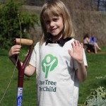 Waving to camera after a job well done planting trees!
