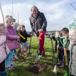 Bristol Mayor George Ferguson planting trees with local children for 'One Tree Per Child'